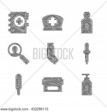 Set Inhaler, Ointment Cream Tube Medicine, Hand Sanitizer Bottle, Pipette, Medical Thermometer, Anal