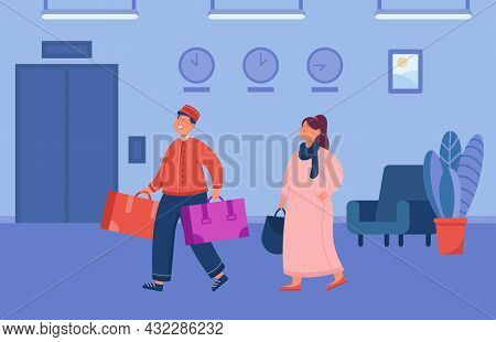 Cartoon Bell Boy Helping Female Guest Carry Luggage. Hotel Servant And Woman In Lobby Flat Vector Il