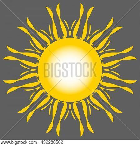 Sunny Sunshine Yellow Background With White Sunlight. Bang Sunrise Banner. Bright Radiance Solar Ray