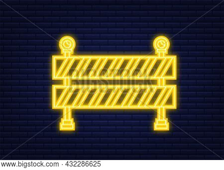 Under Construction Barrier. Rneon Style. Fence Of Building Or Repair Works Sign. Vector Stock Illust