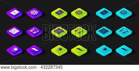 Set Earth Globe, Eraser Or Rubber, Calculator, School Bus, Atom And Spiral Notebook Icon. Vector