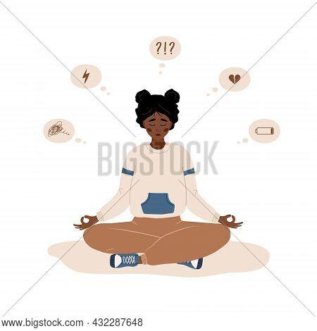 Mood Disorder. Sad African Woman Sitting In Lotus Position. Mental Health. Symptoms Of Schizophrenia