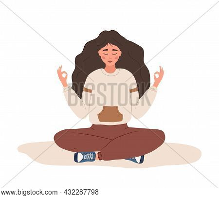 Breath Awareness Yoga Exercise. Woman Practicing Belly Breathing For Good Relaxation. Meditation For