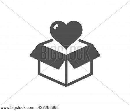 Donation Box Icon. Fundraising Sign. Charity Symbol. Classic Flat Style. Quality Design Element. Sim