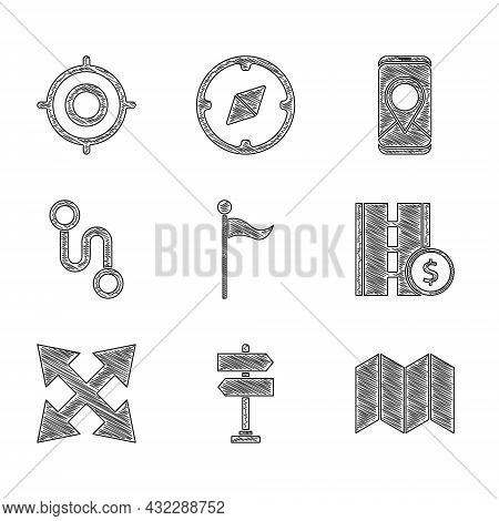 Set Location Marker, Road Traffic Sign, Folded Map, Toll Road, Route Location, City Navigation And T