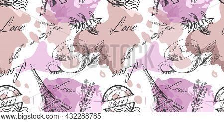 Seamless Pattern With The Symbols Of France. Eiffel Tower, Coffee, Lavender, Love, Print Paris