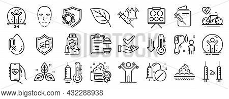 Set Of Healthcare Icons, Such As Vision Board, No Alcohol, Vaccination Passport Icons. Dumbbell, Low