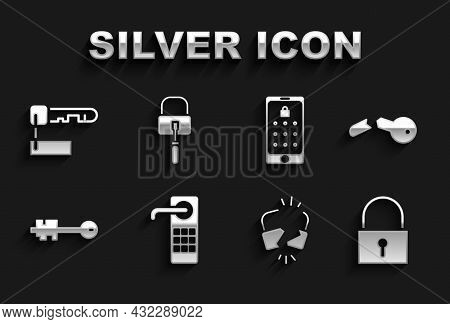 Set Digital Door Lock, Broken Key, Lock, Cracked, Old, Mobile And Graphic Password, Marked And Picks