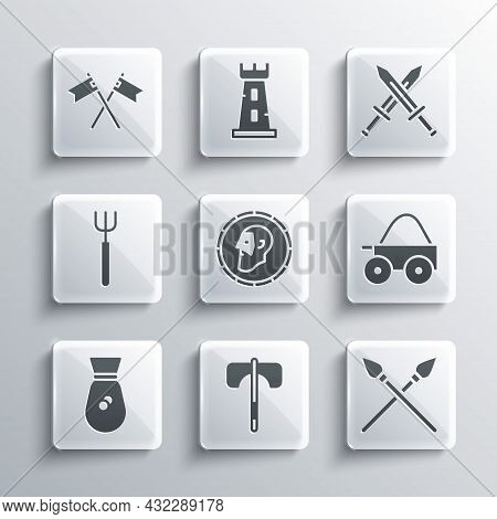Set Medieval Axe, Crossed Medieval Spears, Wooden Four-wheel Cart, Ancient Coin, Old Money Bag, Gard