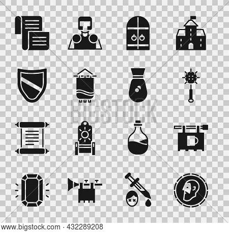 Set Ancient Coin, Street Signboard With Bar, Medieval Chained Mace Ball, Castle Gate, Flag, Shield,