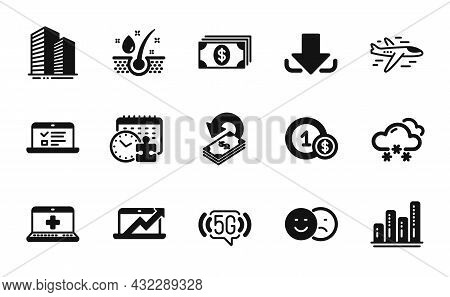 Vector Set Of Sales Diagram, Web Lectures And Medical Help Icons Simple Set. Airplane, 5g Wifi And G