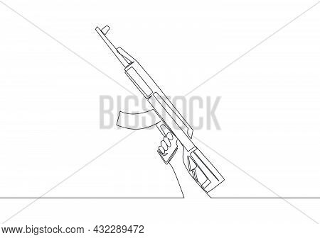 One Continuous Line Drawing Of Man Holding Assault Rifle Automatic Gun. Defense Weapon Concept. Sing