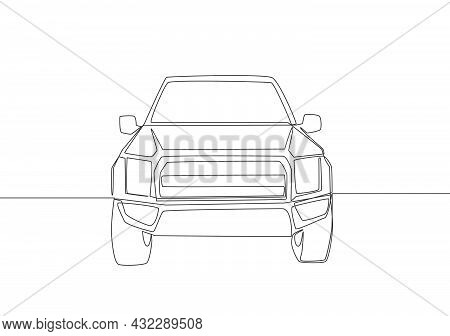 Single Line Drawing Of Suv Car From Front View. Family Comfortable Vehicle Transportation Concept. O