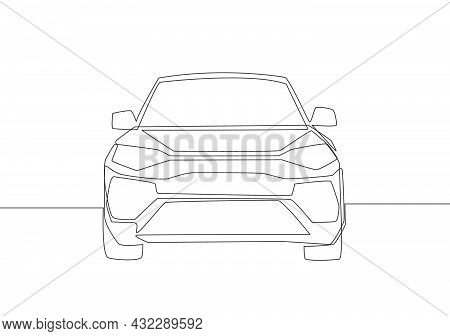 Continuous Line Drawing Of Luxury Suv Car From Front View. Urban City Vehicle Transportation Concept