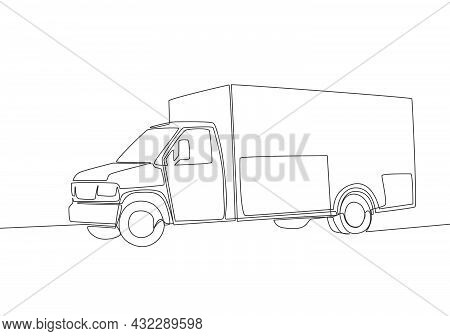 Continuous Line Drawing Of Modern Trailer Truck. Cargo Delivery Service Vehicle Transportation Conce