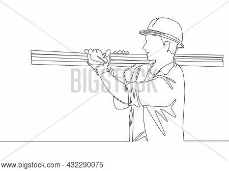 Single Continuous Line Drawing Of Young Lumberjack Wearing Helmet And Glove While Carrying Pile Of W