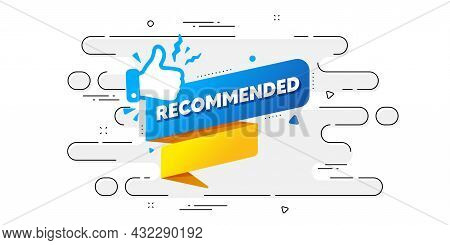 Recommended Paper Banner. Geometric Ad Banner On Flow Pattern. Best Deal Tag. Bubble With Thumbs Up