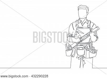 Single Continuous Line Drawing Of Young Handyman Wearing Building Construction Uniform While Holding