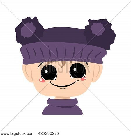 Avatar Of A Child With Big Eyes And A Wide Happy Smile In A Violet Hat With A Pom Pom. Head Of A Tod
