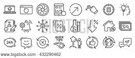 Set Of Technology Icons, Such As Direction, Drag Drop, Approve Icons. Tutorials, Notification Bell,