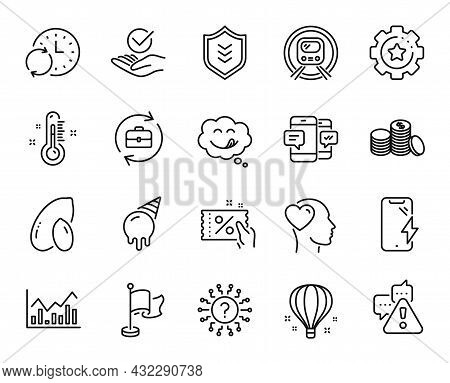 Vector Set Of Metro Subway, Flag And Air Balloon Line Icons Set. Warning, Approved And Infochart Ico