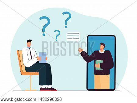 Person In Online Interview, Passing Entrance Test Or Exam. Flat Vector Illustration. Man Answering Q