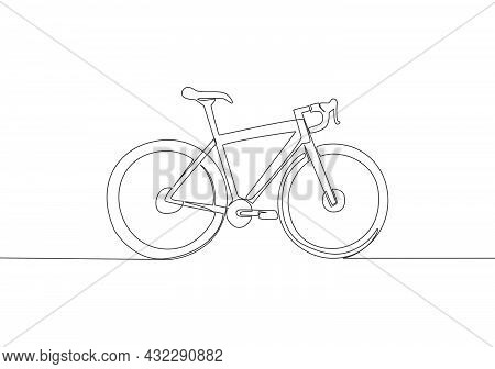 Single Continuous Line Drawing Of Mountain Race Bicycle Logo. Urban Bike To Work And Go Green Moveme