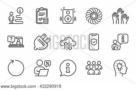 Technology Icons Set. Included Icon As Idea Head, Accounting Checklist, Fan Engine Signs. Online Dis
