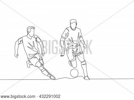 Single Continuous Line Drawing Of Young Energetic Football Player Chasing Opponent Player Who Dribbl