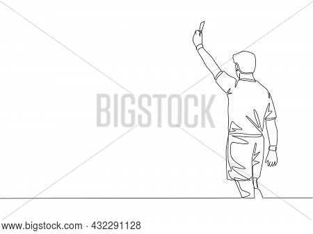One Single Line Drawing Of Young Referee Booked A Player Yellow Card For The Foul At The Match. Socc