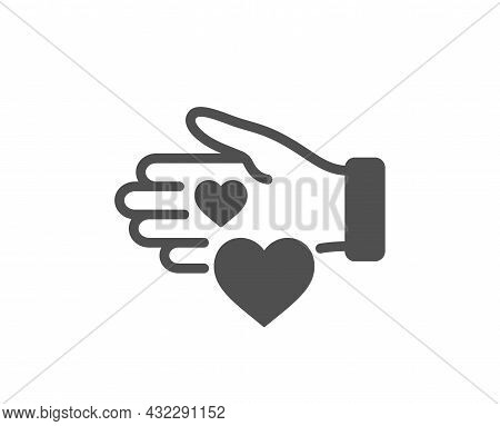Volunteer Care Icon. Helping Hand Sign. Donation Symbol. Classic Flat Style. Quality Design Element.