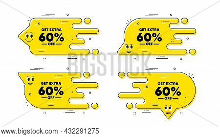 Get Extra 60 Percent Off Sale. Cartoon Face Transition Chat Bubble. Discount Offer Price Sign. Speci