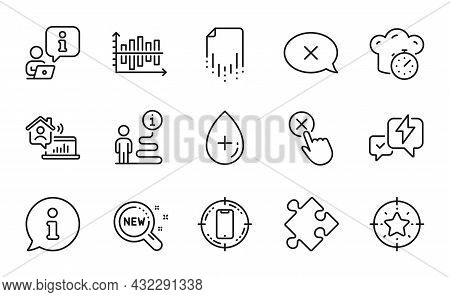 Technology Icons Set. Included Icon As Oil Serum, Star Target, Smartphone Target Signs. Reject, New