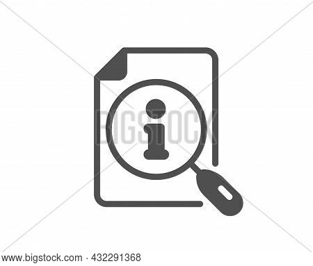 Search Info Icon. User Manual Sign. Information Document Symbol. Classic Flat Style. Quality Design