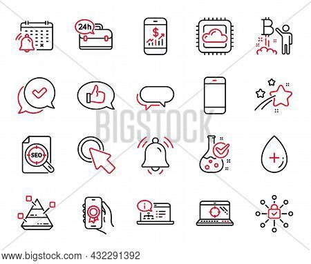 Vector Set Of Technology Icons Related To Notification Bell, Mobile Finance And Cloud Computing Icon