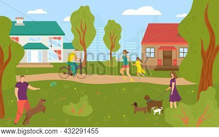 People At Street House, Vector Illustration, Man Woman Character Walk Near Town Building, Urban Arch
