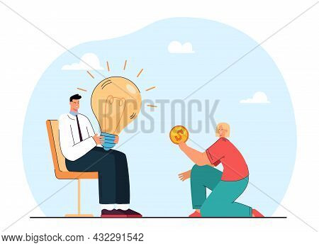 Girl Paying Man For His Idea. Flat Vector Illustration. Young Man Holding Huge Light Bulb, And Girl