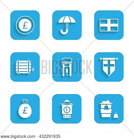 Set London Phone Booth, Big Ben Tower, Coffee Cup Go, England Flag Pennant, Money Bag With Pound, Wo