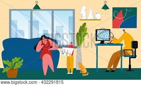 Digital Addiction At Family Home, Vector Illustration, Flat Man Woman Parents Character Use Phone, C
