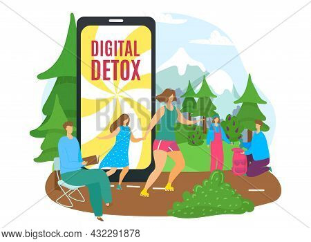 Digital Technology Detox Without Internet, Vector Illustration, Flat Man Woman Character Leave Devic