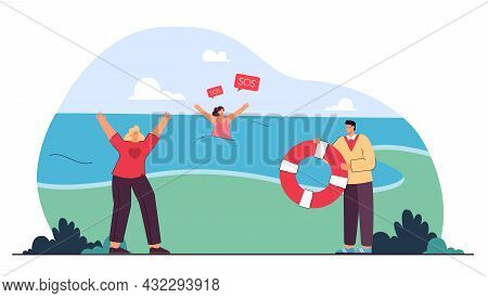 Kind People Helping Drowning Woman. Flat Vector Illustration. Man And Girl Running To Sea With Life