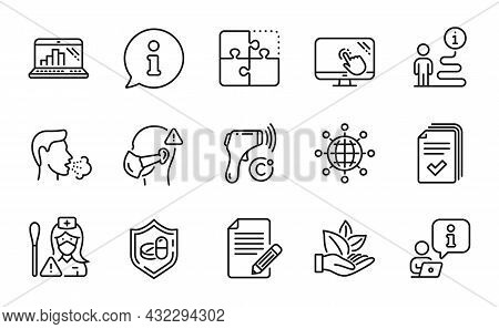 Science Icons Set. Included Icon As Handout, Electronic Thermometer, Medical Tablet Signs. Article,
