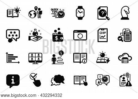 Vector Set Of Education Icons Related To Chat Message, Outsource Work And Marketing Strategy Icons.
