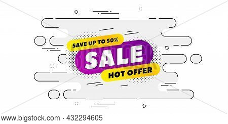 Sale 30 Percent Off Banner. Geometric Ad Banner On Flow Pattern. Discount Sticker Shape. Hot Offer I