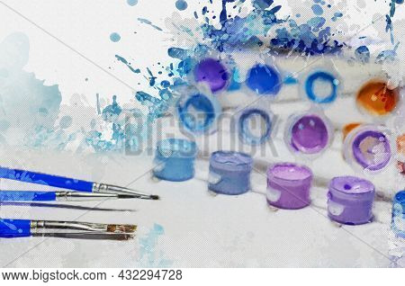 Concept Of Painting, Art, Creativity. Brushes, A Set Of Acrylic Paints And A Fragment Of The Canvas.
