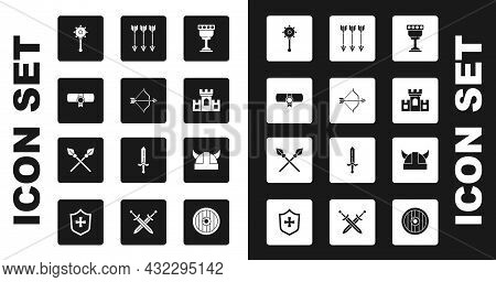 Set Medieval Goblet, Bow And Arrow, Decree, Parchment, Scroll, Chained Mace Ball, Castle, Fortress,