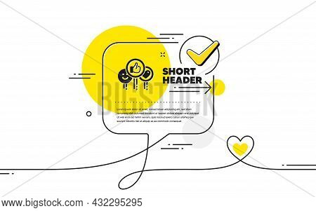 Social Media Like Icon. Continuous Line Check Mark Chat Bubble. Thumbs Up Sign. Positive Smile And H
