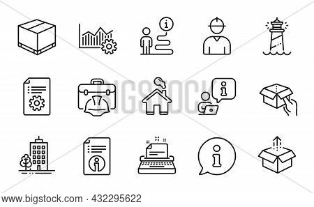 Industrial Icons Set. Included Icon As Delivery Box, Skyscraper Buildings, Operational Excellence Si