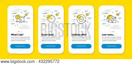 Vector Set Of Online Question, Timer And Approved Line Icons Set. Ui Phone App Screens With Line Ico