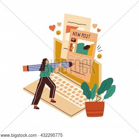 Blogger Creating Content For Blog. Tiny Woman Copywriter Writing New Post For Social Media. Author A